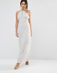 Maya Chiffon Maxi Dress With Embellished Body Microchip Grey
