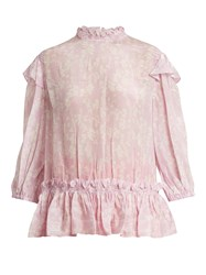 Preen Line Sienna Floral Print High Neck Blouse Pink White