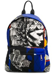 Versace Jp Collage Backpack Leather Polyamide Blue