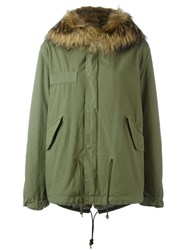 Mr And Mrs Italy Rabbit Raccoon Fur Lined Jacket Green