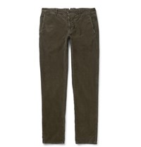 Incotex Slim Fit Stretch Cotton Corduroy Trousers Green