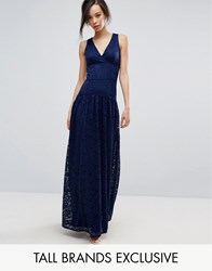 Little Mistress Tall Allover Lace Full Prom Maxi Dress Navy