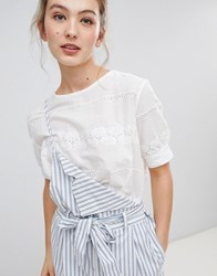 Qed London Broderie Crop Top White