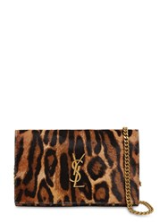 Saint Laurent Leopard Printed Ponyskin Chain Wallet