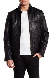 Cole Haan Washed Genuine Leather Moto Jacket Black