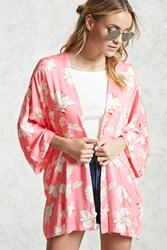 Forever 21 Tropical Floral Print Kimono Pink Cream