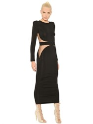 Balmain Stretch Viscose Knit Dress W Sheer Back