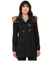 Marc New York Paxton 30 Wool Plush Toggle Faux Fur Coat Charcoal Women's Coat Gray