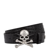 Philipp Plein Andover Skull Crocodile Leather Belt Unisex Black