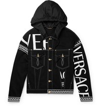 Versace Logo Print Hooded Denim Jacket Black