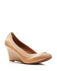 Tory Burch Jolie Cap Toe Wedge Pumps Tory Beige Gold