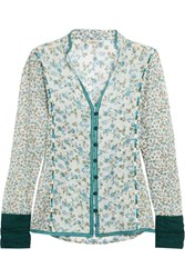 Talitha Floral Print Embroidered Cotton And Silk Blend Gauze Shirt Blue