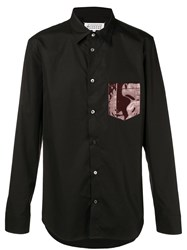 Maison Martin Margiela Contrast Patch Fitted Shirt Black