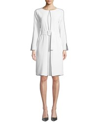 Piazza Sempione Long Sleeve Belted Cady Dress White
