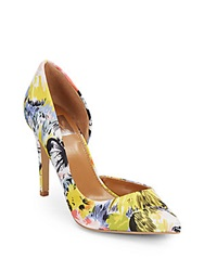 Dolce Vita Friena Floral Print Satin D'orsay Pumps Yellow Flower