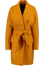 Balmain Oversized Belted Wool Coat Yellow
