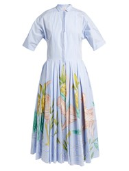 Stella Jean Rampante Striped Cotton Poplin Dress Blue White