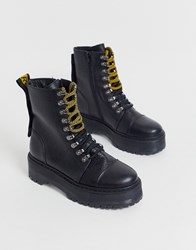 Bronx Leather Lace Up Hiker Boots In Black