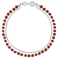 Dower And Hall Sterling Silver Beaded Friendship Bracelet Silver Garnet