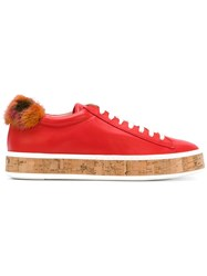 Mr And Mrs Italy Fur Patch Sneakers Red