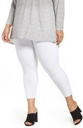 Lysse Plus Size Women's Toothpick Crop Denim Leggings White