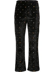 Sonia Rykiel Velour Studded Cropped Trousers Black
