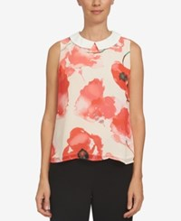 Cece Collared Floral Print Shell Peach Rose