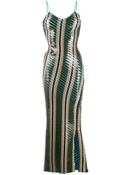 Y Project Printed Tape Dress Green