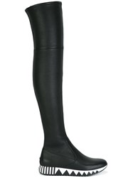 Tory Burch Striped Sole Flat Boots Black