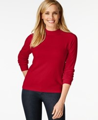 Karen Scott Mock Turtleneck Long Sleeve Sweater Only At Macy's Red Cherry