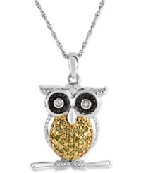 Macy's Diamond Owl Pendant Necklace 1 10 Ct. T.W. In Sterling Silver