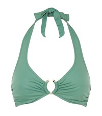 Lazul Halterneck Self Tie Bikini Top Female Green