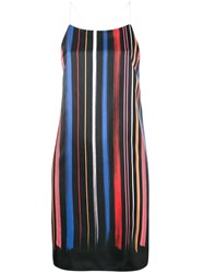 Adam Selman Stripe Slip Dress Black