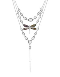 Lucky Brand California Gardens Mother Of Pearl And Semi Precious Rock Crystal Necklace Silver