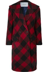 Pushbutton Oversized Checked Double Breasted Wool Blend Coat Red