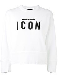 Dsquared2 'Icon' Embroidered Sweatshirt Women Cotton Xs White
