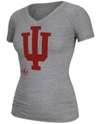 Adidas Women's Cap Sleeve Indiana Hoosiers V Neck T Shirt Gray