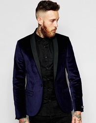 Noose And Monkey Velvet Blazer In Skinny Fit Navy