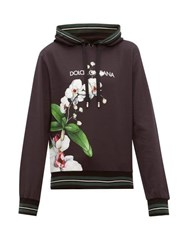Dolce And Gabbana Orchid Print Logo Cotton Hooded Sweatshirt Black