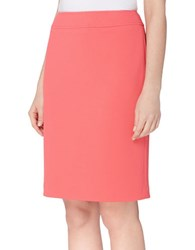 Tahari By Arthur S. Levine Solid Pique Pencil Skirt Coral