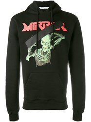 Off White Skull Mirror Hoodie Black