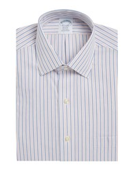 Brooks Brothers Striped Cotton Dress Shirt Blue