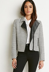 Forever 21 Striped Tweed Moto Jacket Black Cream