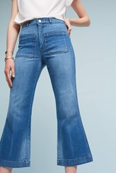 Anthropologie Amo Saily Ultra High Rise Cropped Boot Jeans Denim Medium Blue
