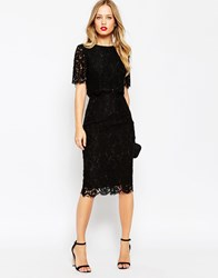 Asos Lace Crop Top Midi Pencil Dress Black