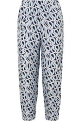 Marni Printed Silk Twill Tapered Pants Blue