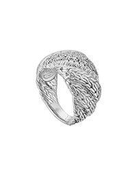 John Hardy Large Twisted Chain Diamond Ring Silver