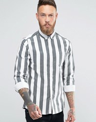 Asos Shirt With Vintage Stripe In Black And Long Sleeve Black White