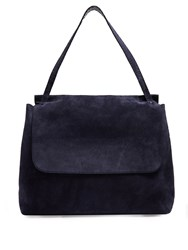The Row Suede Shoulder Bag Navy