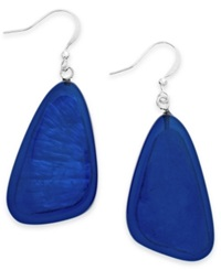 Style And Co. Silver Tone Blue Shell Drop Earrings